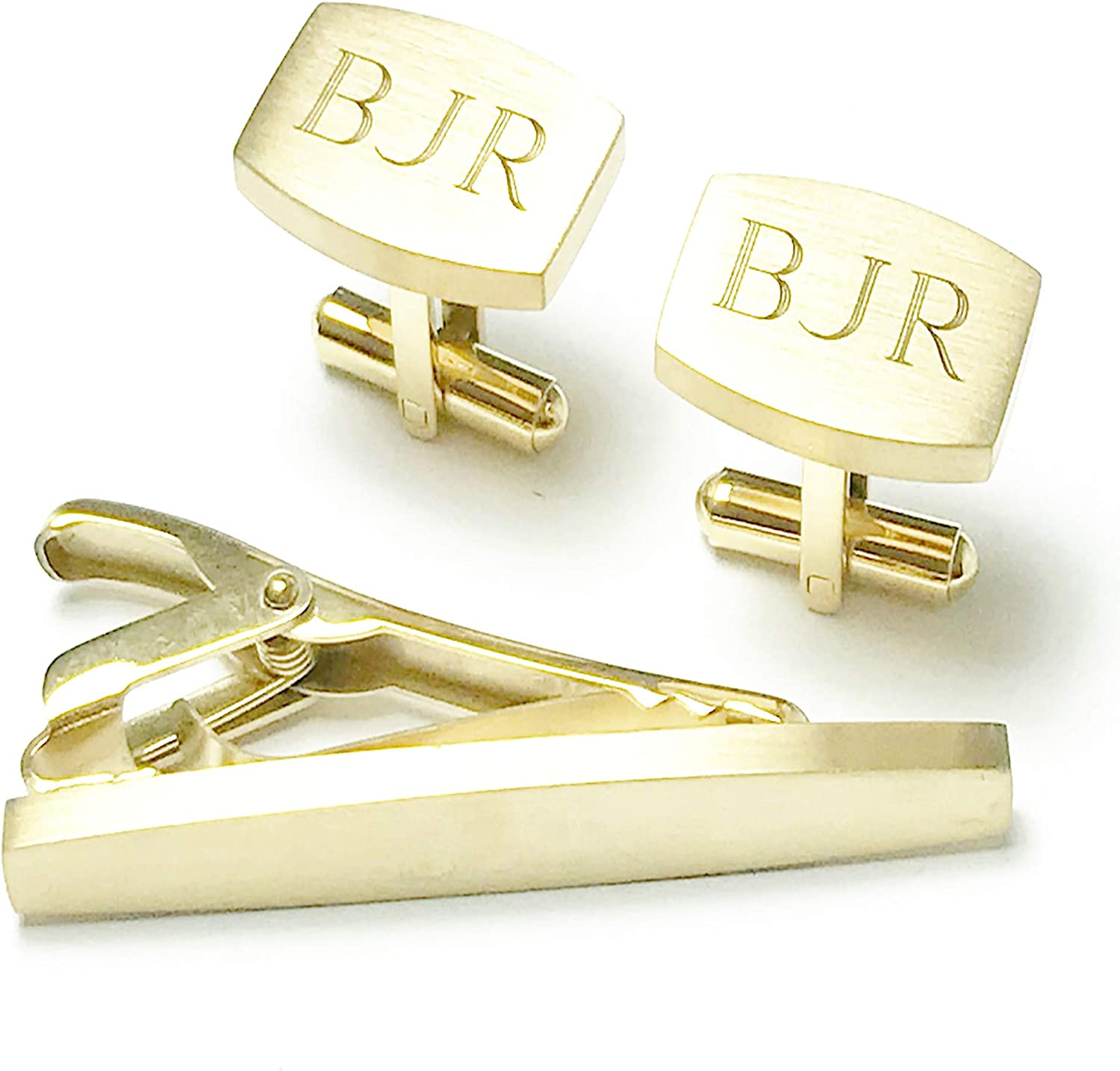 Personalized Cufflinks & Tie Clip Set for Men High Polished Gold Plated Stainless Steel Custom From USA