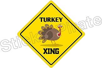 StickerPirate Turkey Crossing Funny Metal Novelty Sign Aluminum