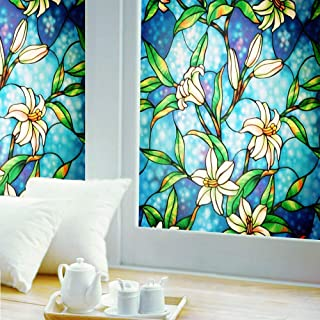 Ablave Stained Glass Window Film Decorative Privacy Window Film Frosted Window Film Window Clings No-Glue Self Static Cling for Home Bedroom Bathroom Kitchen Office 35.4