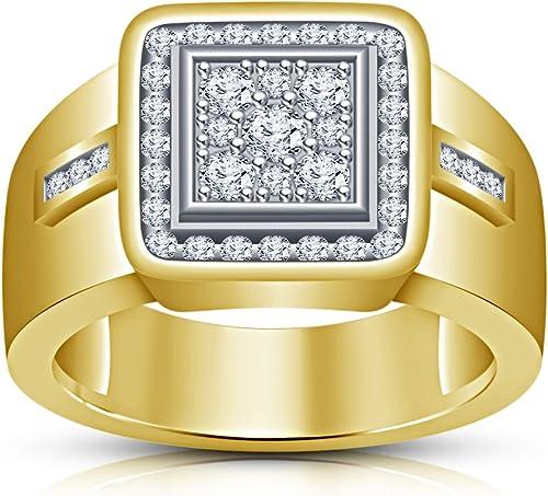 comprar ahora Vorra Fashion - Anillo de plata plata plata de ley 925 chapado en oro de 14 quilates, corte rojoondo, Color blanco  auténtico