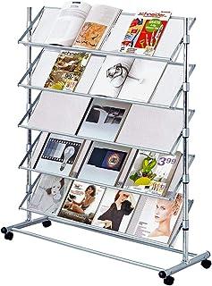 Pureday Stand de brochure Christina II - Porte-brochure sur Rouleaux - métal - Largeur approximativement 100 cm - argenté
