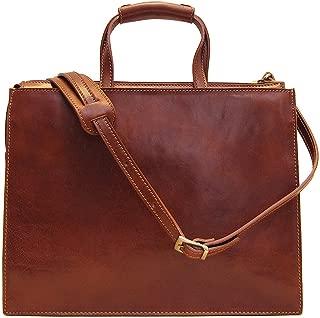 Floto Trastevere Attache Briefcase in Brown Italian Calfskin Leather