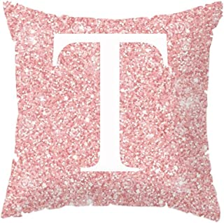 AFABE Throw Pillow Case Pink 26 Letters Cushion Cover Home Girls Room Sofa Decor Modern Pillow Cases T
