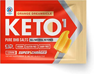 Exogenous Ketones Supplement with Beta Hydroxybutyrate BHB Salts for Ketogenic Diet – Keto Powder Drink to Help Reach Ketosis, Weight Control, Reduce Stress, Boost Energy (Orange Dreamsicle, 1 SRV)