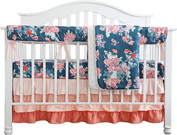 Coral Navy Floral Baby Crib Bedding Set Minky Blanket Crib Rail Cover Peach Navy Floral Girl Crib Set Floral Ruffled Crib Skirt 4 Pcs Set