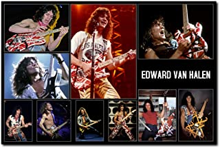 Wall decor Eddie Van Halen Poster 24 x 36 Inches | Ready to Frame for Office, Living Room, Dorm, Kids Room, Bedroom, Studio | Full Sized Print | Collage Poster