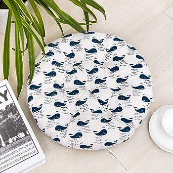 HomeMiYN - Cojines redondos para asiento de jardín, comedor, silla de cocina Tatami, suave y duradera, con lazos para silla, tela, Whale, 50*50cm (1.6*1.6ft): Amazon.es: Hogar
