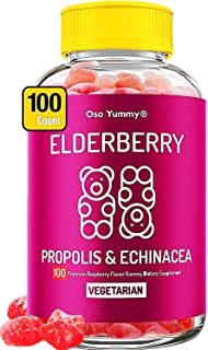 (100 Count) Sambucus Elderberry Gummies for Kids & Adults   Vitamin C Immune Gummies Immune System Booster w/ Propolis & E...