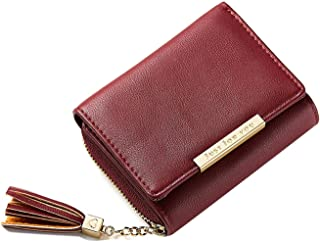 Women's Small Tassel Trifold Wallet Card Case Leather Pocket Coin Purse for Lady