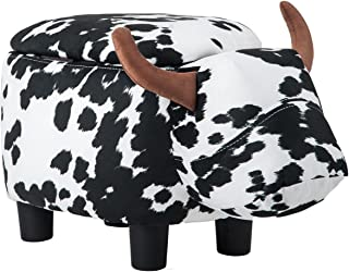 Merax Have-Fun Series Upholstered Ride-on Storage Ottoman Footrest Stool with Vivid Adorable Animal-Like Features (Black and White Cow)