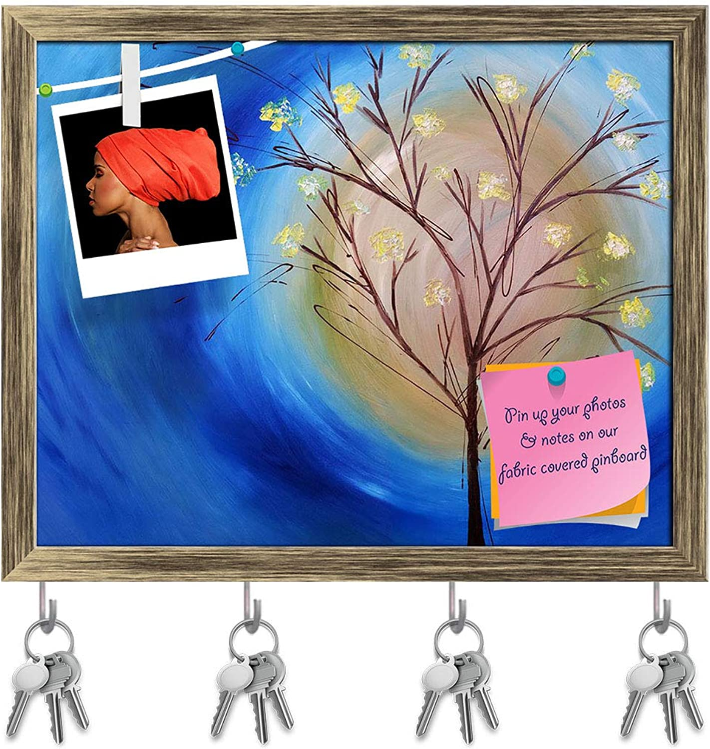 Artzfolio Fall Tree Against bluee Swirling Sky Key Holder Hooks   Notice Pin Board   Antique golden Frame 19.9 X 16Inch