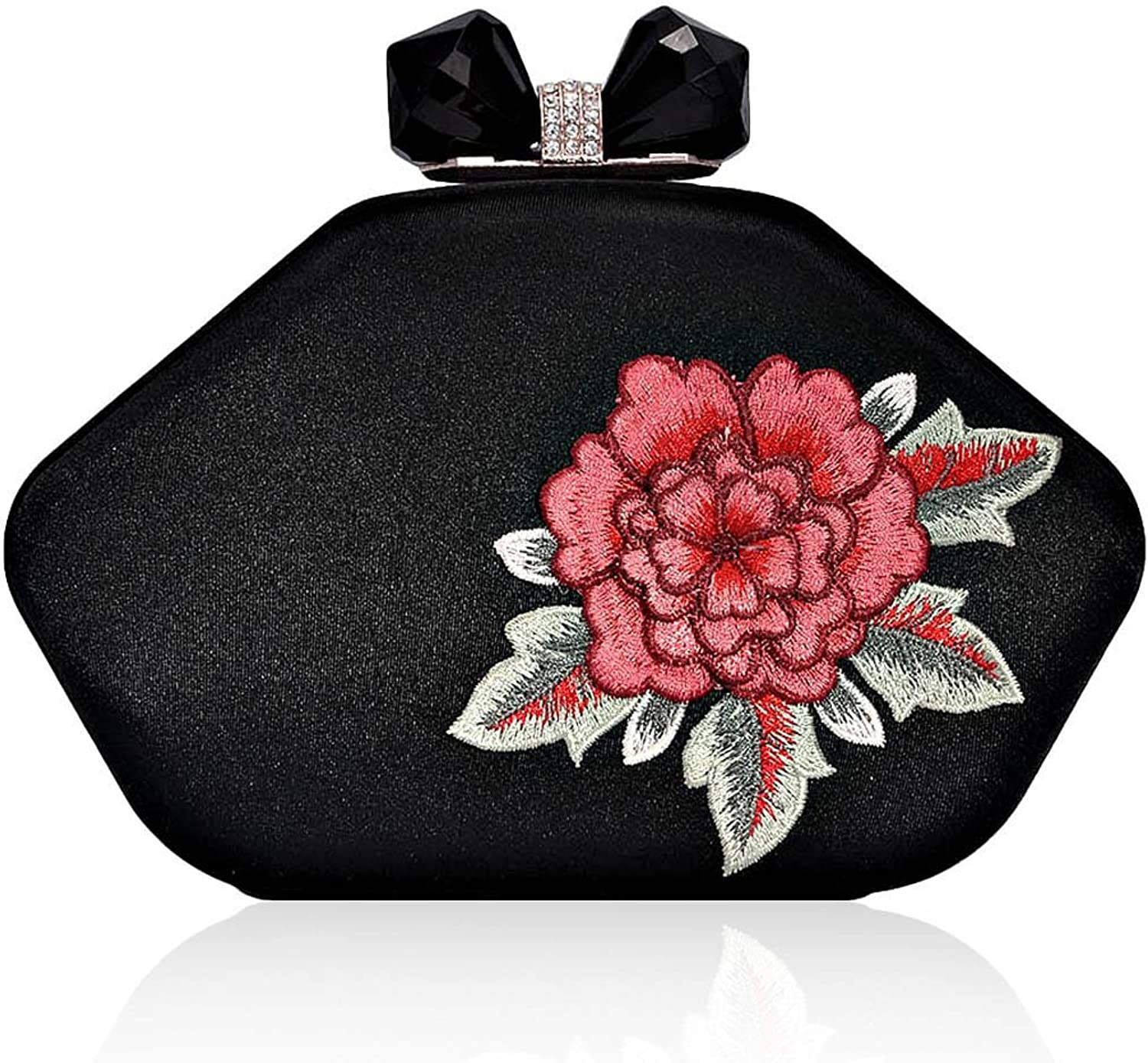 Damara Womens Flower Embroidery Rhinestone Snap Evening Bag