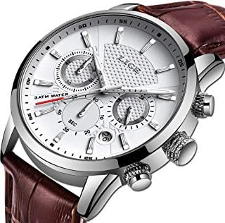 Men's Watches Fashion Luxury Military Sport Analog Quartz Chronograph Watch for Men Classic Casual Waterproof Watch Brown White Leather Gents Dress Wristwatch