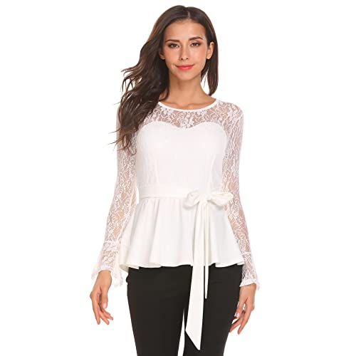 5f03bbcb9aa4 Meaneor Women Long Sleeve Lace Floral Slim Fit Casual Peplum Top Shirt  W/Belt