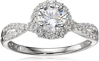 Sterling Silver Cubic Zirconia Round Ring, Size 7