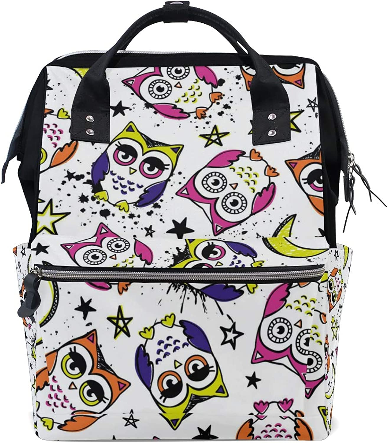 ColourLife Diaper bag Backpack Doodle Owls Stars Tote Bag Casual Daypack Multifunctional Nappy Bags
