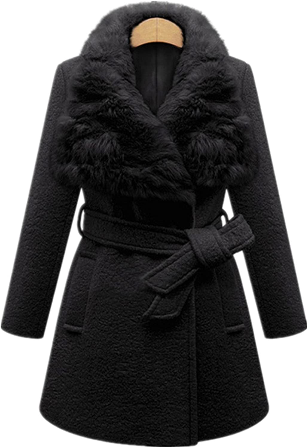 Allonly Women Rabbit Fur Long Slim Woolen Windbreaker Plus Size Trench Coat