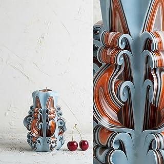 Candela Intagliata A Mano - Azzurro Cielo E Arancione Delicato - Centirno Ornamentale per Nozze - EveCandles