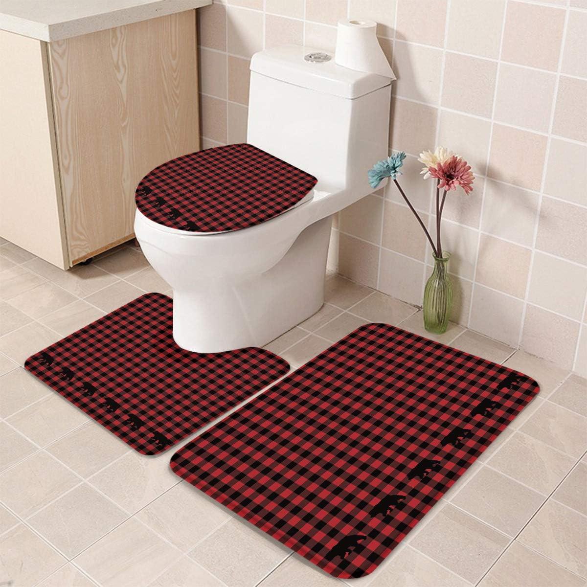 3 Pieces Bathroom Rug Set Non Buffalo Plaid Japan Maker Regular store New Decor Slip
