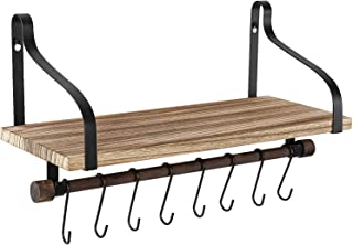 Ruiuzi estantes de pared para cocina Organizador de cocina de madera rústica con riel de madera y 8 ganchos extraíbles para organizar utensilios de cocina, multiuso como estante de baño