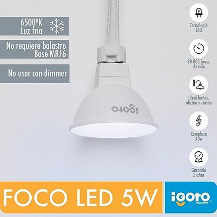 iGoto F10405 Foco led dicroico MR16, 5W Luz Fría