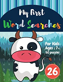 My First Word Searches: 50 Large Print Word Search Puzzles : wordsearch for 7 year olds activity workbooks | Ages 7 8 9+ Cow design (Vol.26) (Kids word search books)