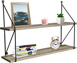 قفسه شناور سوربوس با براکت های فلزی - ذخیره سازی دیواری چوبی مصنوعی روی دیوار ، صفحه نمایش آویز تزئینی برای جایزه ، قاب های عکس ، کلکسیون ها و موارد دیگر (2-لایه - خاکستری)