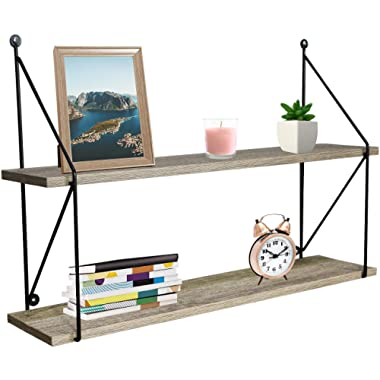 Sorbus Floating Shelf with Metal Brackets — Wall Mounted Rustic Wood Wall Storage, Decorative Hanging Display for Trophy, Photo Frames, Collectibles, and Much More (2-Tier – Grey)
