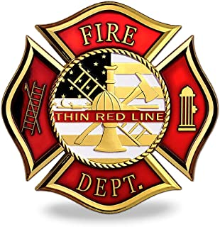 Firefighter Thin Red Line Car Emblem Fire Department Metal Badge