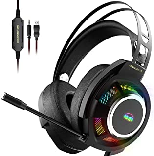 Monster Mission V1 Gaming Headset PS5 Headset Xbox One Headset,Over-Ear Gaming Headphone with Noise Cancelling Microphone,...