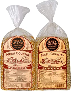 Amish Country Popcorn - Baby White & Baby Yellow, 2 (2 Lb Bags) - With Recipe Guide, Old Fashioned, Non GMO, Gluten Free