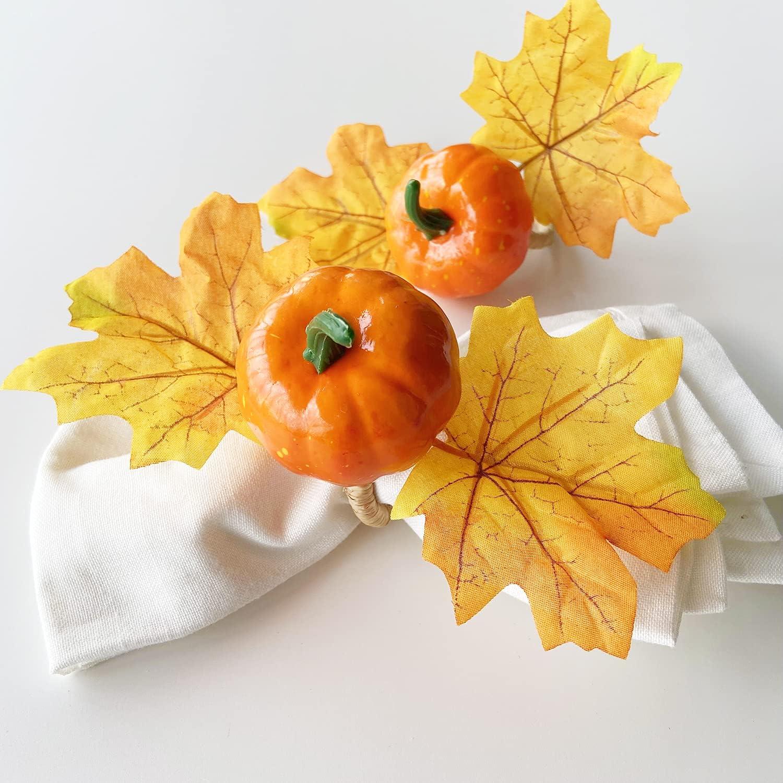 Yukoii Max 76% OFF Fall Napkin Rings Large special price !! Set of Pumpkin Handmade Ring 4