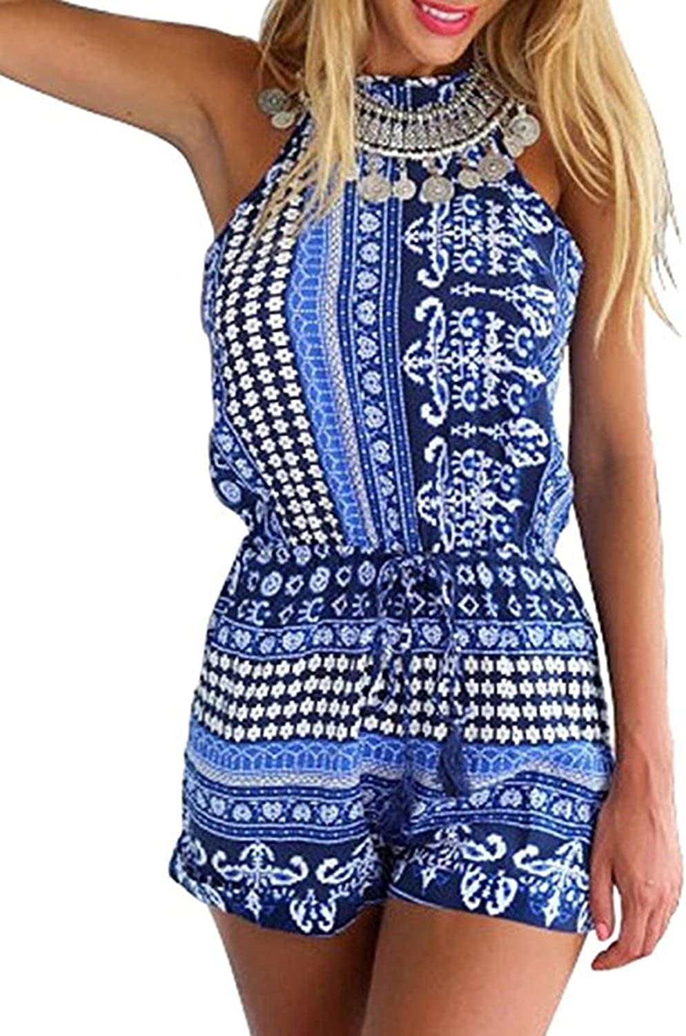 Choies Women's Polyester bluee Red Cut Out Back Bohemian Casual Loose Romper Playsuit