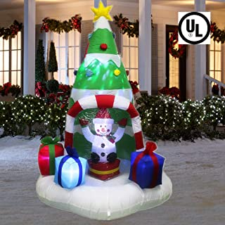 ANOTHERME 7 Feet Christmas Inflatable Tree with Rotating Snowmen and Twinkle Lights Decor, Air Blown LED Lighted, Outdoor Indoor Holiday Yard Decoration