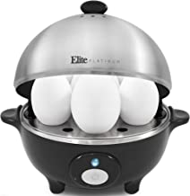 Elite Cuisine EGC-508 Egg Poacher, Omelet & Soft, Medium, Hard-Boiled Egg Cooker with Auto-Off, Buzzer and Stainless Steel Tray, 7 Egg Capacity, Black