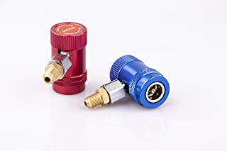 """eoocvt R1234yf Quick Couplers Adjustable Conneter Adapter, High/Low Side R1234yf Manual Couplers Connector Adapters with 1/4"""" Male Port for A/C Refrigerants Manifold Gauge Set"""