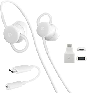 Google USB-C Earbuds, USB-C to 3.5mm Adapter, USB-C to USB 3.0 Adapter, for Google 2nd-4th Gen Pixel Devices - Accessory Combo Kit