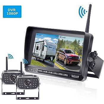 ZEROXCLUB Digital Wireless Backup Camera System Kit,HD1080P Wireless Reverse Rear Side View Camera,No Interference,IP69 Waterproof 7/'/' LCD Wireless Monitor for RV//Truck//Trailer//Bus//Pickup//Van-B4C