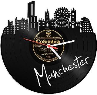 Reloj De Pared De Vinilo placa Reloj Skyline Manchester upcycling Design Reloj de pared de decoración vintage de reloj de pared Decoración Retro de reloj fabricado en Alemania.