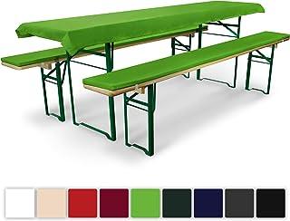 Beautissu Comfort XS - Set de 3 elegantísimas Fundas Mantel Mesa de cervecería/Picnic 50 cm y Bancos Acolchados - Verde