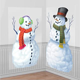 amscan Snowmen Scene Setters Add-Ons Christmas Accessory, 2 Ct.   Plastic