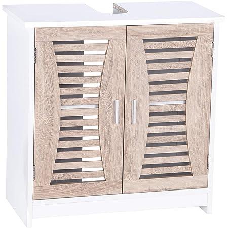 WOLTU BZS08 Meuble sur Pied de Salle de Bain Meuble sous lavabo Etagère de Salle de Bain Meuble de Rangement MDF, 60x30x60,5cm (LxLxH)