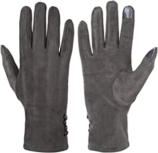 GLOUE Women's Touch Screen Gloves Texting Suede Leather Warm Winter Feast Gloves Driving Riding Outdoor and Indoor Fashion Gloves