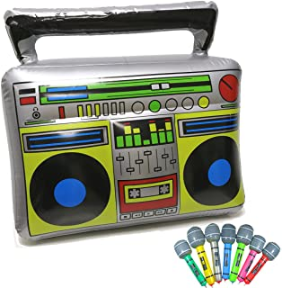 """Inflatable Boom Box - 18"""" PVC Radio + 2 Microphones for 80s party decorations inflatable props"""
