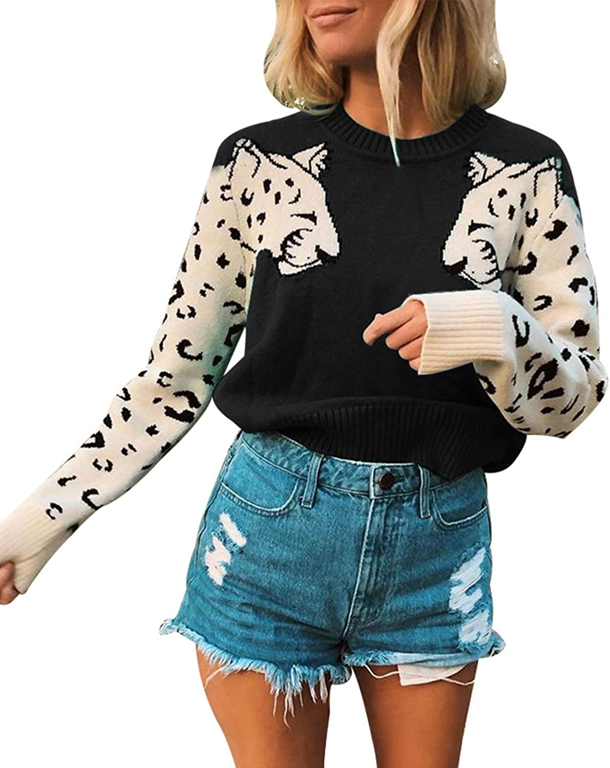 Mansy Women's Casual Long Sleeve Crew Neck Cute Animal Leopard Print Knitted Pullover Sweater Tops
