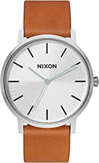 Porter Leather A1058 - Silver/Tan - 50m Water Resistant Men's Analog Classic Watch (40mm Watch Face, 20-18mm Leather Band)