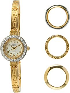 Pierre Jacquard Gold-Tone Petite Watch with Narrow Bracelet and 4 Interchangeable Bezels Gift Set