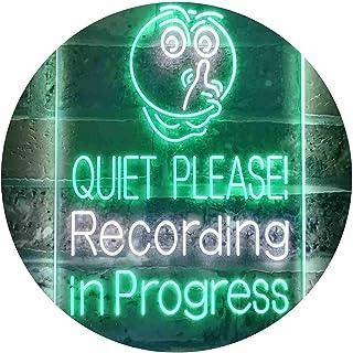 Quiet Please Recording in Progress Studio Dual Color LED Neon Sign White & Green 300 x 400mm st6s34-i3580-wg