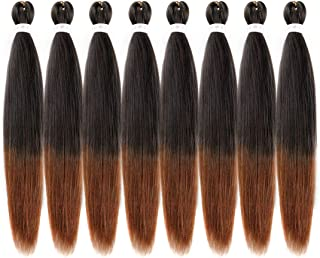 Riverwood 26 inch 8 Packs Ombre Two Tone Pre-Stretched Easy Braiding Hair 99.99% Hot Water Setting Organic Synthetic Fiber Yaki Texture EZ Braids Hair Extensions #T1B/30(Black to Auburn)