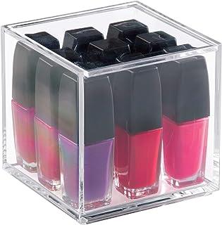 iDesign boîte à cosmétiques avec couvercle (10,2 x 10,2 x 10,2 cm), petite boîte de rangement en acrylique sans BPA, organ...